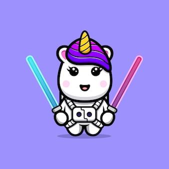Licorne mignonne tenant la conception de mascotte d'épée laser