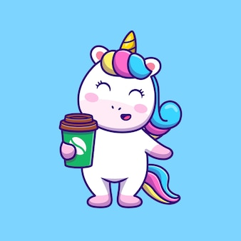 Licorne mignonne tenant illustration vectorielle de café dessin animé.
