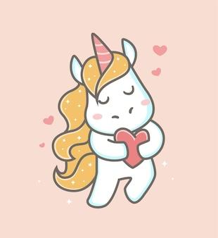 Licorne mignonne tenant une pancarte d'amour