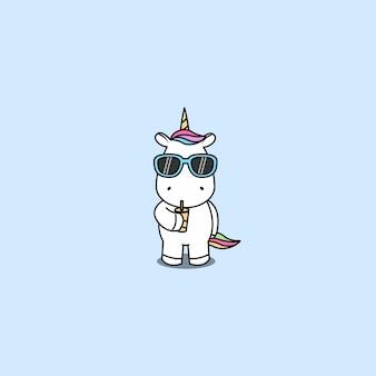 Licorne mignonne avec le vecteur de l'eau potable de lunettes de soleil
