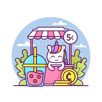 Licorne mignonne vendant une illustration de thé à bulles