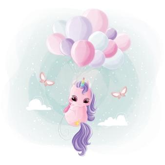 Licorne mignonne volant avec des ballons