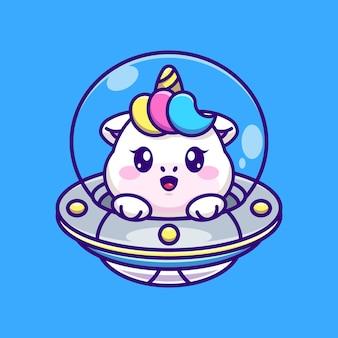Licorne mignonne volant avec dessin animé ovni de vaisseau spatial