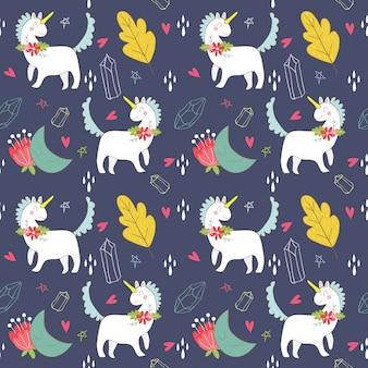 Licorne, motif étoile et lune / fond