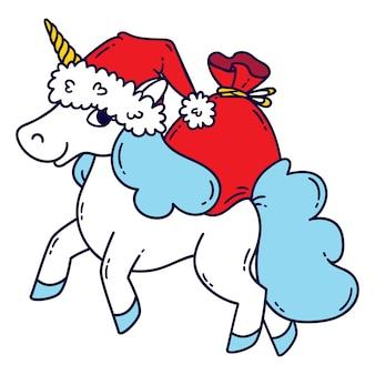 Licorne de noël avec un bonnet de noel et un sac de cadeaux.