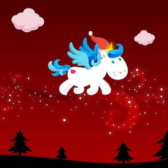 Licorne de noël dans le ciel