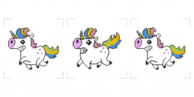 Licorne pixel. animation de jeu 8 bits isolée sur fond blanc.