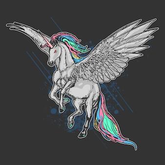 Licorne plein couleur avec oeuvres d'aile