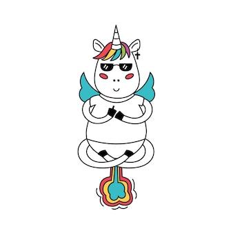 Licorne pointe le majeur pète des arcs-en-ciel
