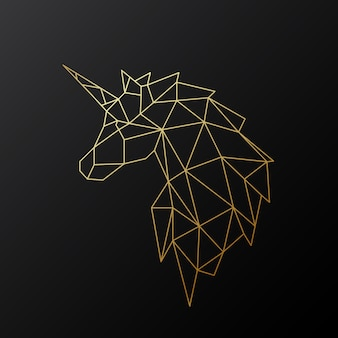 Licorne polygonale dorée.