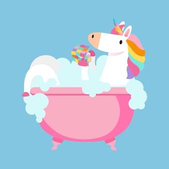 Licorne prenant un vecteur de bain