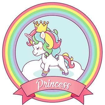 Licorne princesse sur un cadre arc en ciel