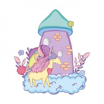 Licorne et princesse avec château dans les nuages