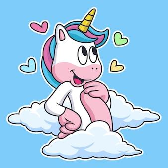 Licorne rêve un amour dans le ciel