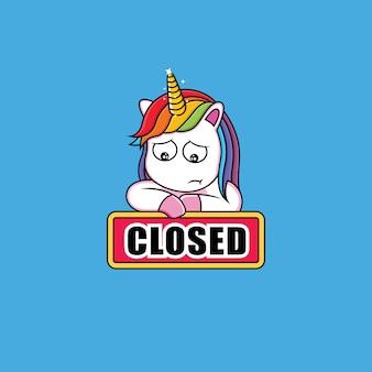 Licorne avec un signe fermé