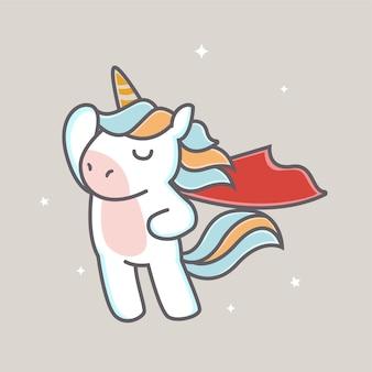 Licorne de super-héros mignonne en cape rouge