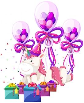 Une licorne avec thème d'anniversaire