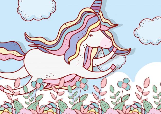 Licorne volant dans les nuages et les plantes à fleurs