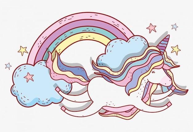 Licorne volant avec étoiles et nuages arc-en-ciel