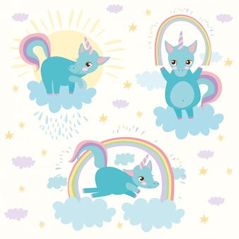 Licornes avec arc-en-ciel