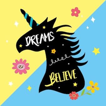 Licornes, cheval, mignon, rêve, fantaisie, vecteur