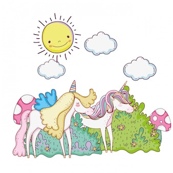 Licornes de conte de fées mignons dans le paysage