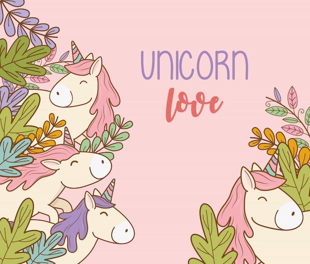 Licornes de conte de fées mignons avec des personnages de fleurs
