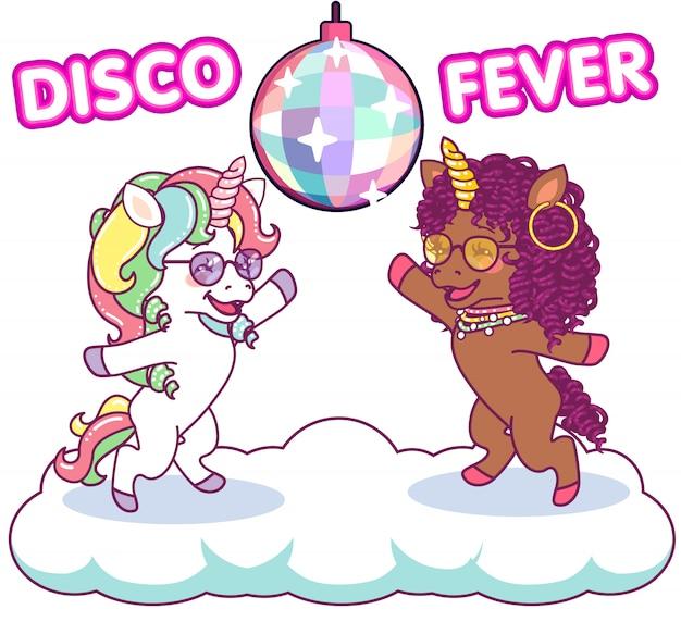 Licornes cool dansant à la discothèque sous la boule à facettes, fièvre disco des années 70