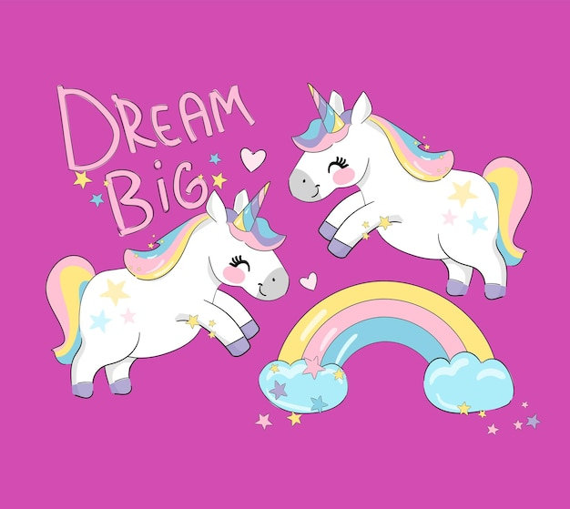 Licornes drôles mignons et arc-en-ciel fond rose belle tendance bébé impression illustration vectorielle
