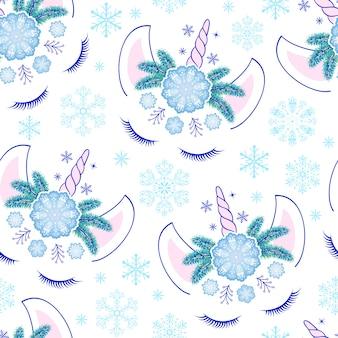 Licornes et flocons de neige