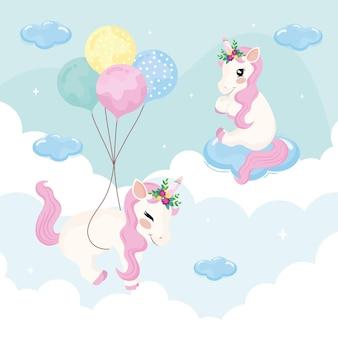 Licornes flottant dans le ciel
