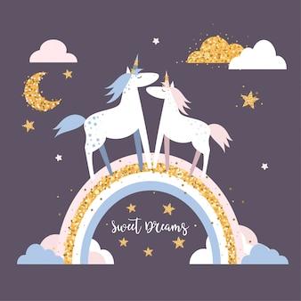 Licornes mignonnes sur l'arc-en-ciel.