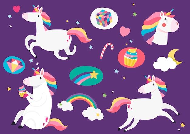 Licornes mignonnes avec des autocollants élément magique