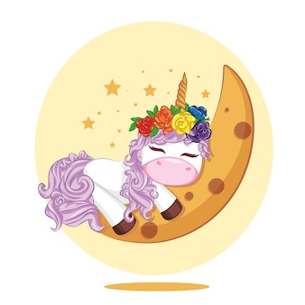 Les licornes mignonnes de bande dessinée dorment sur la lune