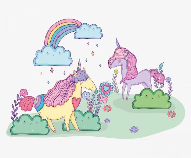 Licornes mignonnes avec des fleurs et arc-en-ciel avec nuages