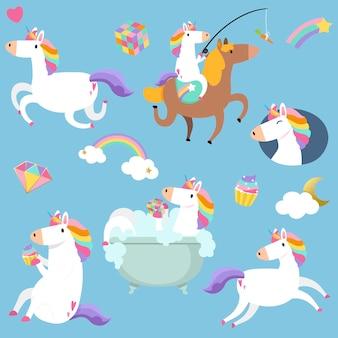 Licornes mignonnes avec vecteur d'éléments magiques