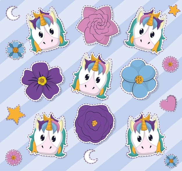 Les licornes mignons et les dessins animés de fond de fleurs vector design graphique d'illustration