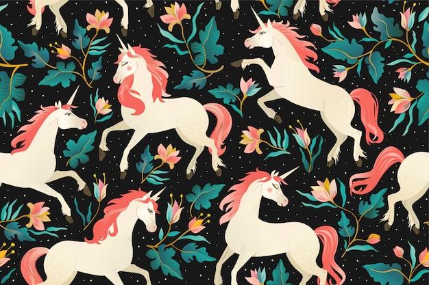 Licornes sur un motif sombre sans soudure