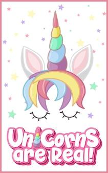 Les licornes sont un vrai logo avec fond de confettis étoiles en couleur pastel isolé