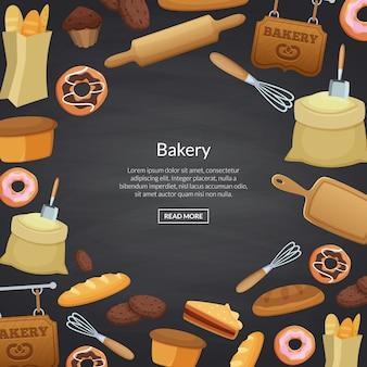 Lieu de bannière de boulangerie de dessin animé pour le texte