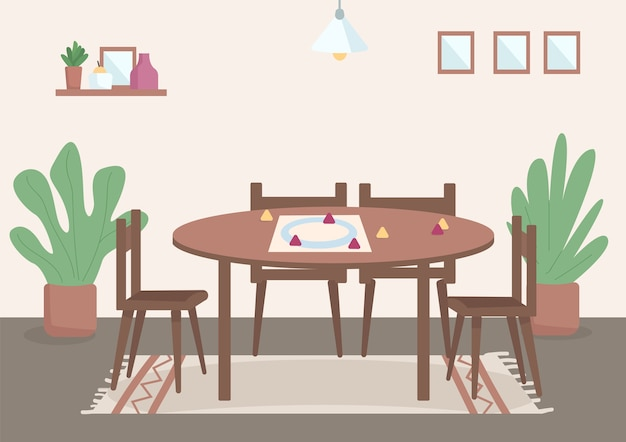 Lieu pour les loisirs en famille illustration couleur plat table pour jeux de société pour le divertissement de jour