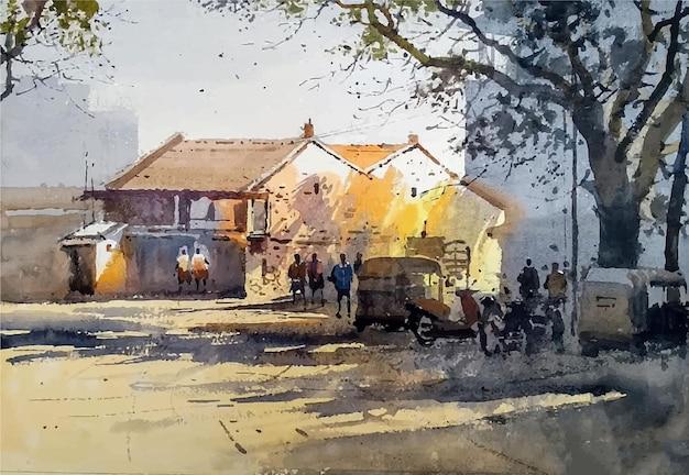 Lieu touristique et industrialisé aquarelle dessiné à la main à l'intérieur de l'illustration du bâtiment