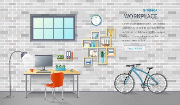 Lieu de travail de bureau élégant et moderne. intérieur de la chambre avec bureau, chaise, moniteur, étagères, fournitures de bureau, vélo. fond de brique.