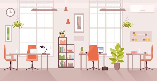Lieu de travail de bureau. intérieur de la salle d'entreprise moderne plat de dessin animé, table de bureau pour l'espace de travail de l'agent
