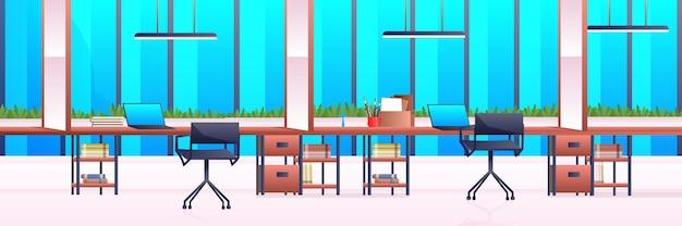 Lieu de travail créatif espace ouvert moderne vide personne bureau intérieur contemporain centre de coworking horizontal