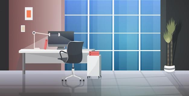 Lieu de travail créatif vide aucun meuble avec des meubles bureau moderne intérieur horizontal
