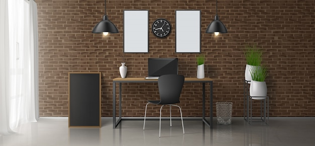 Lieu de travail à domicile, bureau salle 3d conception minimaliste réaliste vecteur ou intérieur de style loft avec ordinateur portable sur le bureau, peintures vierges, cadres photo sur le mur de briques, lampes suspendues, illustration de pots de fleurs