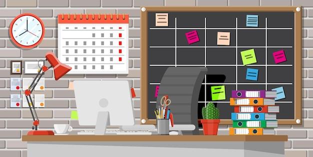 Lieu de travail d'entreprise moderne. bureau avec chaise d'ordinateur, lampe, tasse à café, papiers cactus. calendrier, papeterie, dossiers et tableau de mêlée. table d'espace de travail à domicile. illustration vectorielle plane