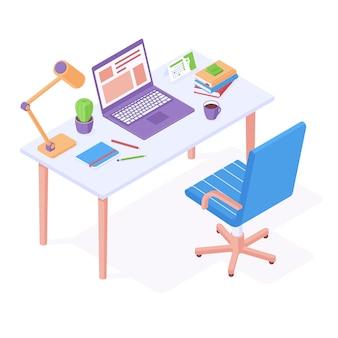 Lieu de travail isométrique - chaise de bureau debout près de la table avec ordinateur portable, lampe de bureau et papeterie.