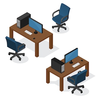 Lieu de travail isométrique avec ordinateur